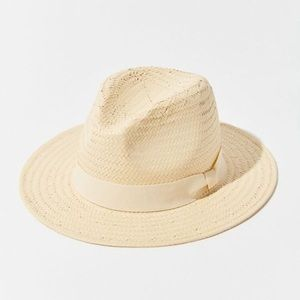 Urban Outfitters Straw Fedora Hat With Ribbon